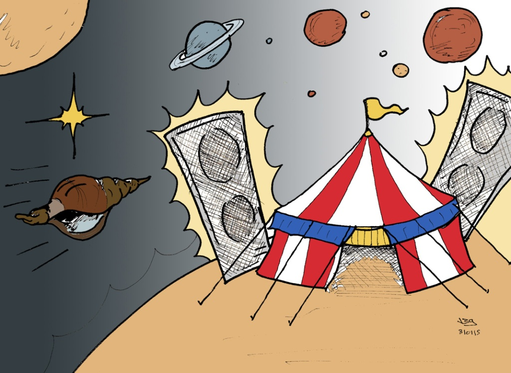 Caracola Loca en Pequeño Circo. Ilustración de Javier Blanco