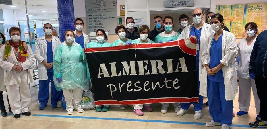 Almería contra el coronavirus. Donación de la agrupación Grada Joven al Hospital de Torrecárdenas de Almería. Foto de Grada Joven