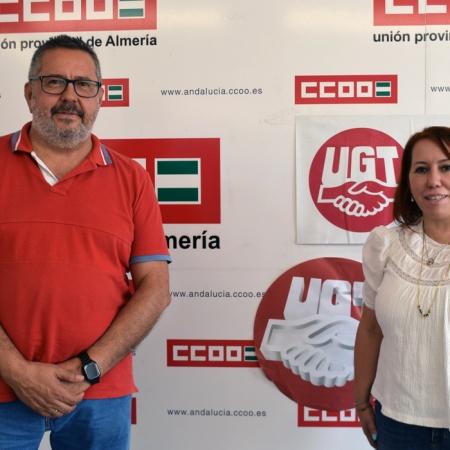 Antonio Valdivieso, secretario general de CCOO Almería, y Carmen Vidal, secretaria general de UGT Almería. Foto de Miguel Blanco / Foco Sur
